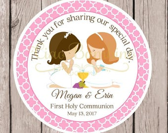 PRINTABLE First Holy Communion Favor Tags in Pink and White / Twins, Siblings, Cousins / Choose Hair & Skin Color / Boy and Girl / You Print