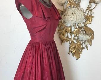 1940s gown water taffeta burgundy dress size medium 1930s gown formal gown vintage dress 27 waist