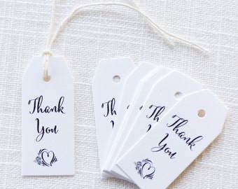 50 Mini Favor Tags, Wedding Thank You Tags, Bridal Shower Favor Tags, Baby Shower Thank You Tag, Mini Thank You Tags