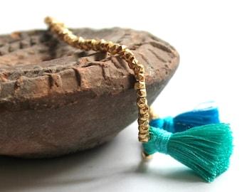 Tassel Bracelet/Beaded Bracelet/Stretch Bracelet/Gold Bracelet/One Size Fits all/Handmade Jewelry/Gift for Her/Gift for Girldfriend/Trendy