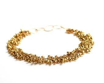 Fringe Bracelet/Wire Wrapped Bracelet/Beaded Bracelet/Handmade Jewelry/Gold Bracelet/Gold Beaded Jewelry/Rope Bracelet/Gifts for Her