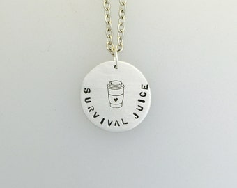Survival Juice Coffee or Tea necklace-coffee lover-tea lover-necklace-vegan necklace-vegan jewelry-birthday-gift-anniversary