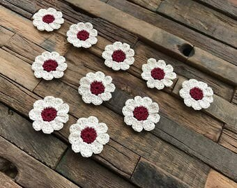 Crochet Flower Appliques, Mini Daisies, Small Flowers, White and Red Daisies, Flower Embellishments, Decorations - Set of 10 – 1.25 inches