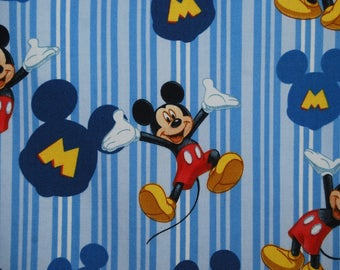 Disney fabric MICKEY MOUSE quilt fabric cotton stripe blue