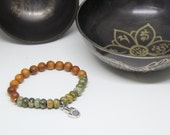 Rhyolite and sandalwood mala yoga bracelet