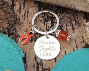 RO-3 No One Fights Alone Keychain, Multiple Sclerosis, MS Awareness, RSD Awareness