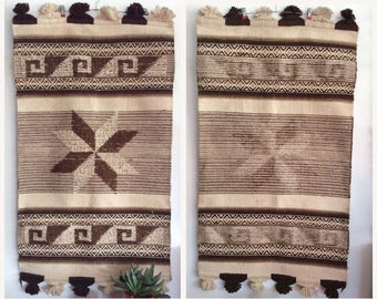 Textile Wall Hanging. Large Woven Wool Tapestry. Brown and Cream Geometric Design, Tassels. Seventies Southwestern Decor.