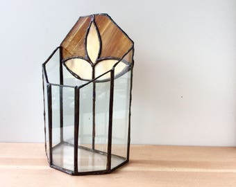 Stained Glass Terrarium Box. Vintage Planter Box. Amber Glass, Clear Glass, Leaf Design. Tall, Narrow Windowsill Design.