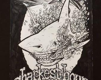 Darkest Hour Shark Week T shirt design original drawing