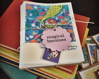 MAGICAL HEROINES faerie tale feet snail mail blank greeting card bundle