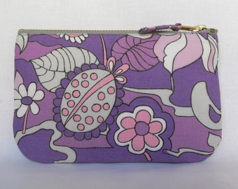 Vintage Make Up Bag, Zip Purse, 1970's Fabric - Lilac Fantasy - Pink Purple Cotton, Ipod & Earphones Case
