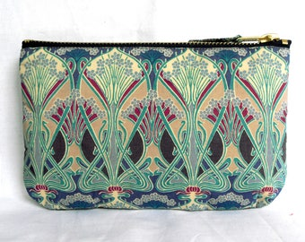 Make Up Bag, Zip Purse, Pouch - Liberty Ianthe Print, Blue, Grey & Navy. Ipod and Earphones Case