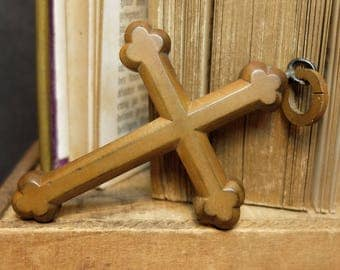 Antique French Cross Vintage Religious Crucifix