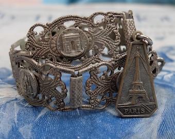 Vintage French Paris Landmarks Souvenir Bracelet Links