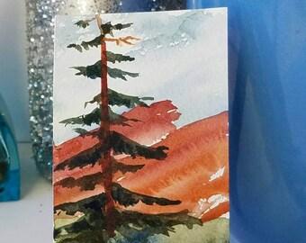Fir Tree Mini Art, ACEO Watercolor Painting, Rocky Mountains, Red Cliffs, Red Rocks, Art Card Original, Small Art Gift, Desk Art, Niche Art