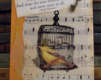 Bird Cage Collage - Emily Dickinson Quote Art - Bird Cage Mixed Media - Bird Collage - 3D Assemblage - Poetry Literary Quote Collage Art