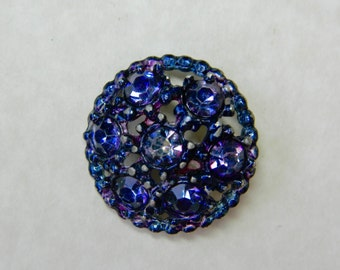 Vintage Painted Openwork Metal Button with Lavender Pastes