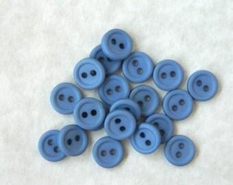 2 Dozen Small Vintage 1975 Blue Plastic Buttons - VB8