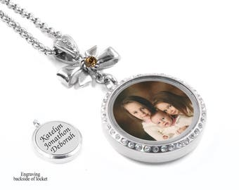 Mothers Photo Locket, Picture Locket, Personalized Engraved Locket, Children's Names, Birthstone Locket, Backside Engraving, stainless steel
