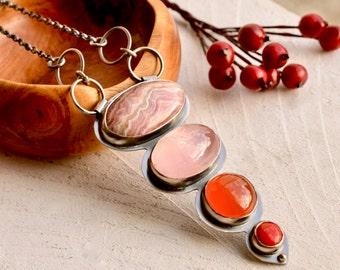 Silver Statement Necklace, Gemstone Cascade Pendant, Rose Quartz Jewelry, Natural Stone Jewelry, Handmade Artisan Jewelry