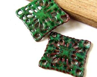 Green Enamel Diamond Filigree Charms