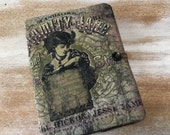COMPOSITION Notebook Book Cover - Calamity Jane - Fabric collage quilted urban Gypsy Journal
