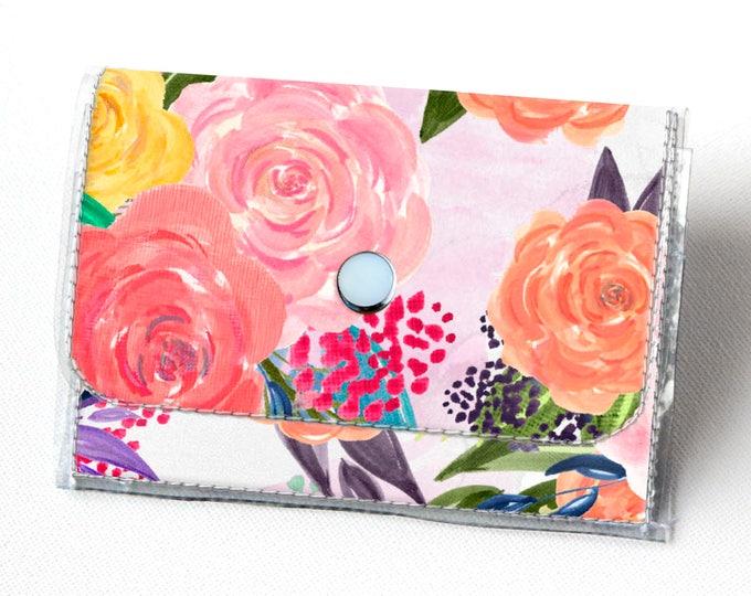 Vinyl Accordion Wallet - Joyful Spring1 /  floral, pink, polka dot, flowers, small wallet, snap, cute, card case, vinyl wallet, women's
