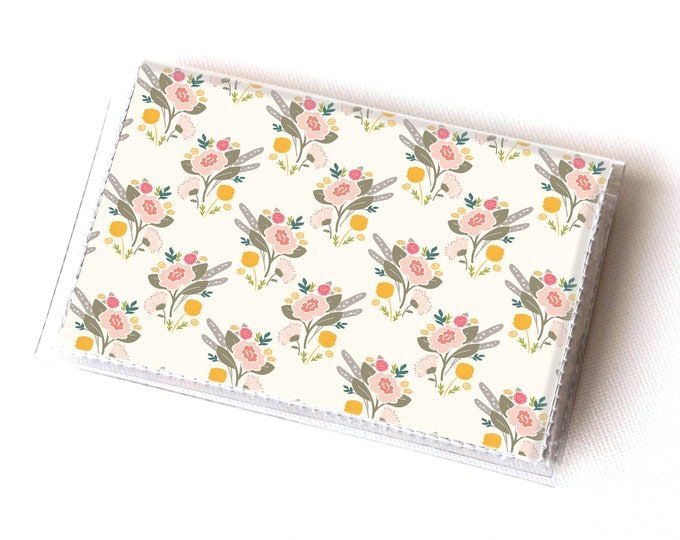 Vinyl Card Holder - Flora Bouquet / vegan, floral, flowers, summer, card case, vinyl wallet, women's wallet, small wallet, gift, spring