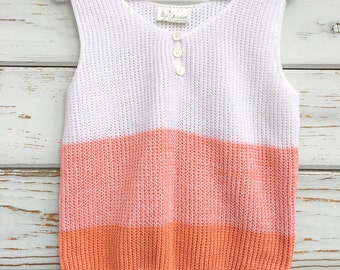 Vintage 70s knitted top/tank,cute,white,peach,novelty,boho,hippie,nautical,soft,casual,USA made,striped
