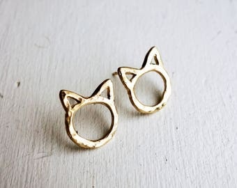 Tiny Cat Studs in 14k Yellow Gold and Sterling Silver - Mini Meows
