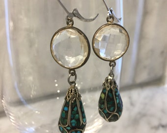 Vintage inlay turquoise dangle and gemstone connector repurposed earrings