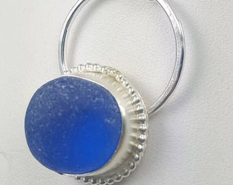 Cobalt Blue Sea Glass Necklace Sea Glass Jewelry Sterling Silver Necklace Sea Glass Pendant - N-488