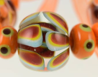 Lampwork handmade Bead Set - Tango Orange