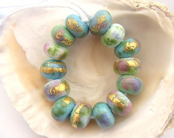 14 Enameled Handmade Lampwork Beads
