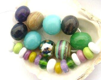 9 Hollow Beads & 15 Spacers Handmade Lampwork