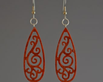 Copper Teardrop Filigree Dangle  Earrings - Upcycled Corian Handmade Recycled Jewelry by Mark Noll - Gift for Her