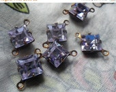 ON SALE 18% off Alexandrite Vintage Swarovski Crystal Square 8x8mm Brass Ox Connector Two Loops 6 Pcs