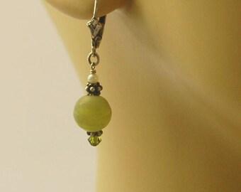 Light green glass, green Swarovski crystal, creamy white seed pearls & Bali sterling silver beaded lever back earrings for pierced ears