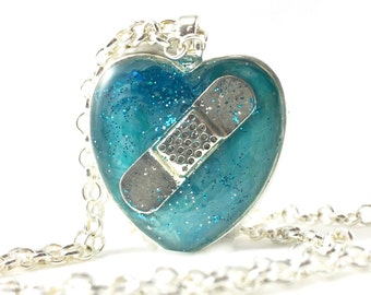 Sympathy Jewelry, Aqua Heart, Broken Heart Necklace, Loss of Baby, Miscarriage, SIDS, Infant Death, Healing, Bandaid Necklace, RIP, Sympathy