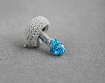 Beaded mushroom crochet brooch - grey pin - whimsical jewelry