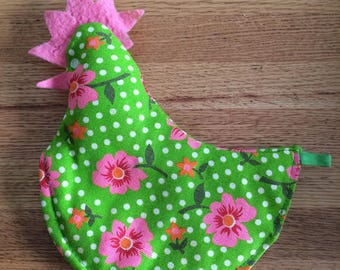 Vintage green pink floral rooster potholder