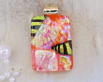 Orange Necklace, Dichroic Glass Pendant, Fused Glass Jewelry, Gold, Pink, One of a Kind, A10