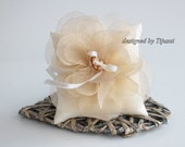 Wedding pillow with beige organza flower-ring bearer, ring cushion, wedding pillow, ready to ship