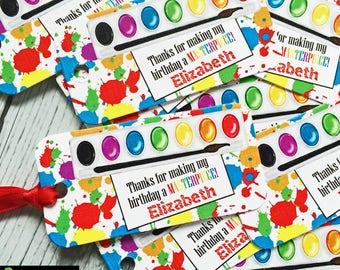 Art Party Favor Tags,Art birthday Party, Painting party, favor tags, paint box, gift tags,hang tags,paint splatter
