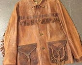 Vintage Western Leather Jacket by Ralph Lauren Fringe Stamped Leather Saddle Bag Pockets with Brass Buckles on Large coat