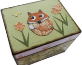Recipe Box, File Box  Address Index Card Box, Decoupage Wooden Box, Holds 4x6 Cards, Home Office Decor, Fox Box, Organizer,  MADE TO ORDER