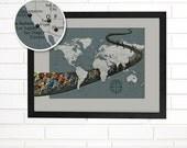 Customized Cycling Map, World Wall Map Art, Pushpin Travel Map