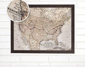 Personalized Push Pin Travel Map, Customized USA Road Trip  Wall Map Art