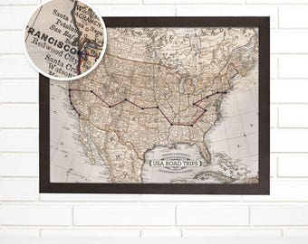 Road Trip Usa Etsy - Map usa road