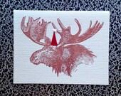 xmas Moose santa hat pom pom holiday letterpress card